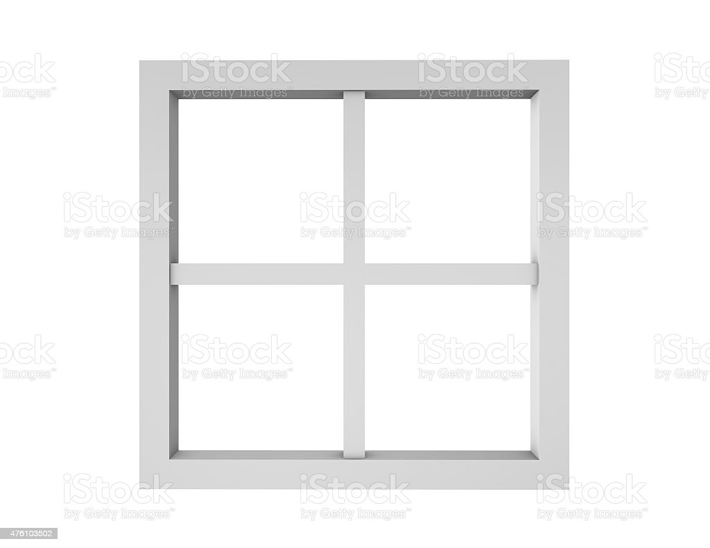 Empty clean window frame isolated on white. vector art illustration