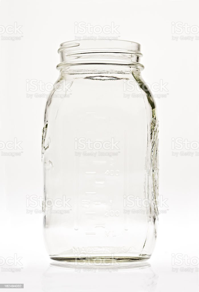 Empty Clear Glass Canning Jar stock photo