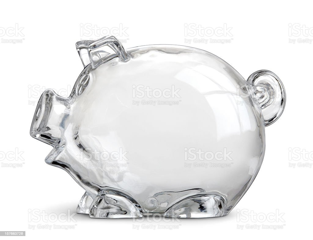 Empty Clear Piggy Savings Bank Isolated On White royalty-free stock photo