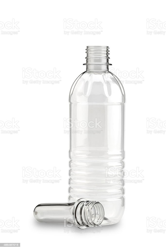Empty clear plastic bottle on white background stock photo
