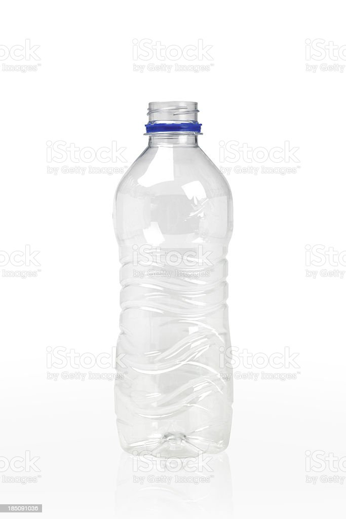 Empty clear plastic bottle on white stock photo