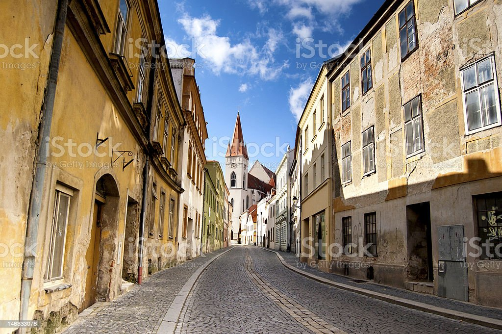Empty cobblestone street in Znojmo, Czech Republic royalty-free stock photo