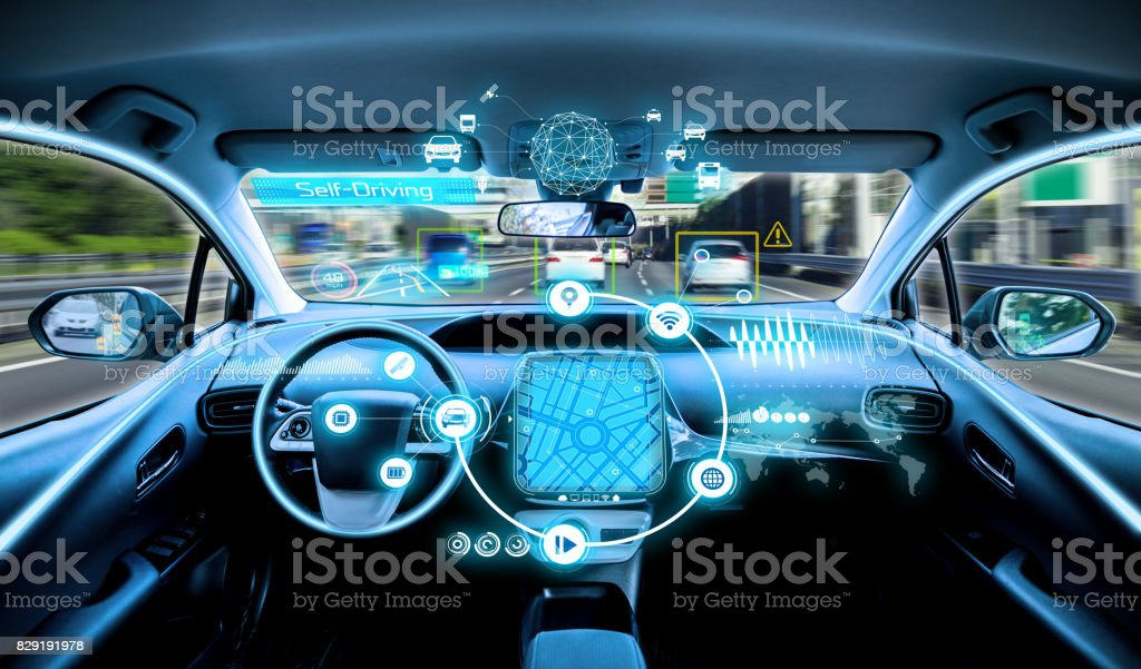 empty cockpit of vehicle. HUD(Head Up Display) and digital instruments panel, autonomous car stock photo