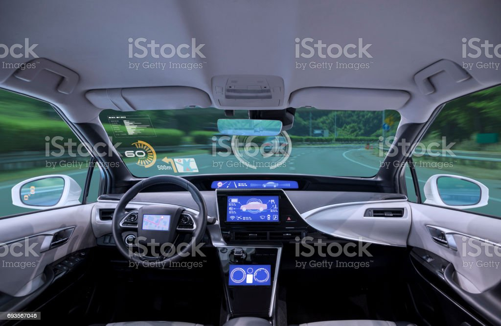 empty cockpit of vehicle, HUD(Head Up Display) and digital speedometer stock photo