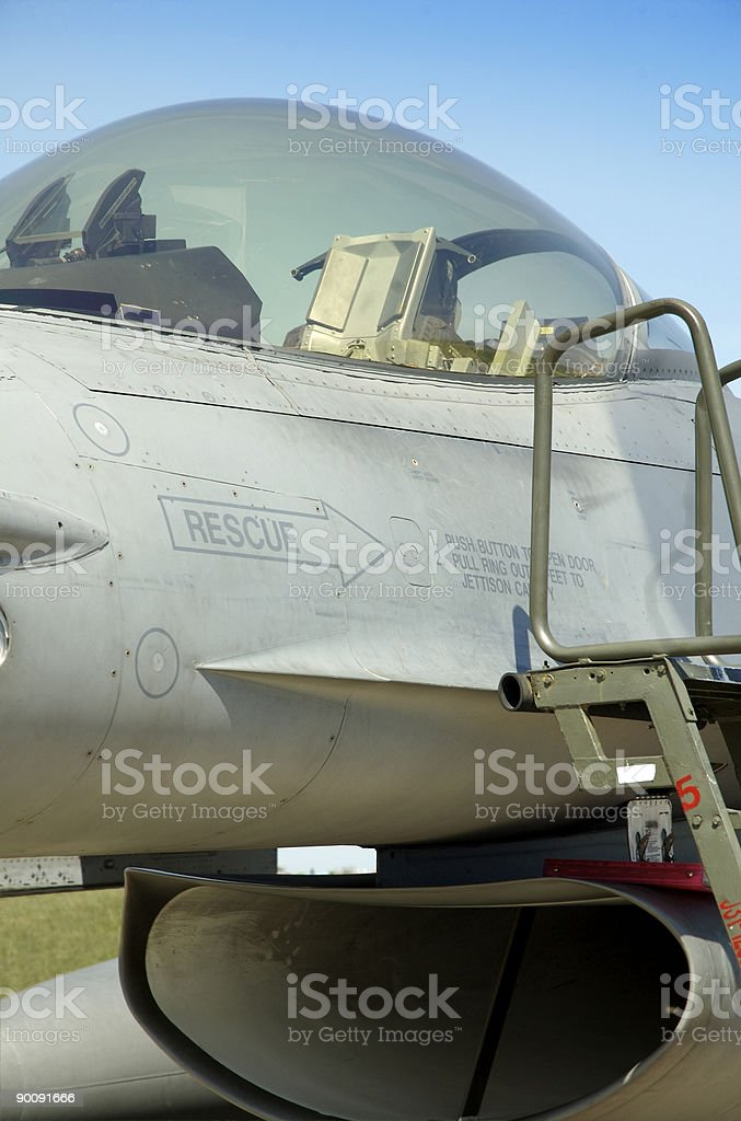 F16 Empty Cockpit stock photo
