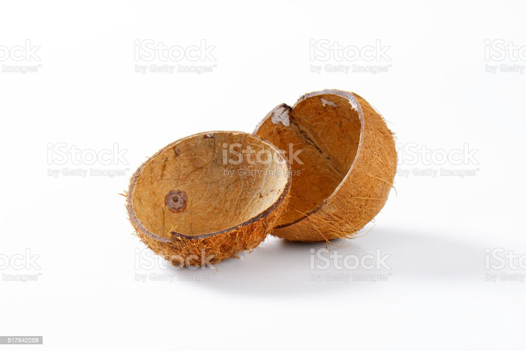 Empty coconut shells stock photo