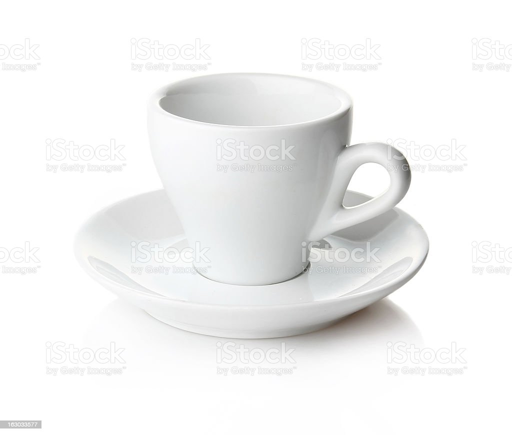 Empty coffee cup and saucer isolated royalty-free stock photo
