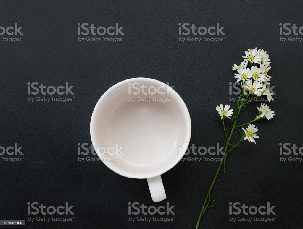Empty coffee cup and Small Flowers fresh. On black background stock photo