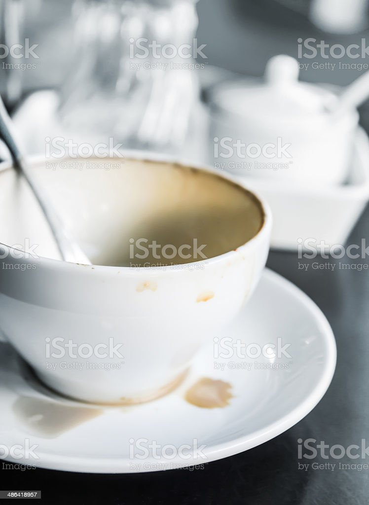 Empty coffee cup on the table stock photo