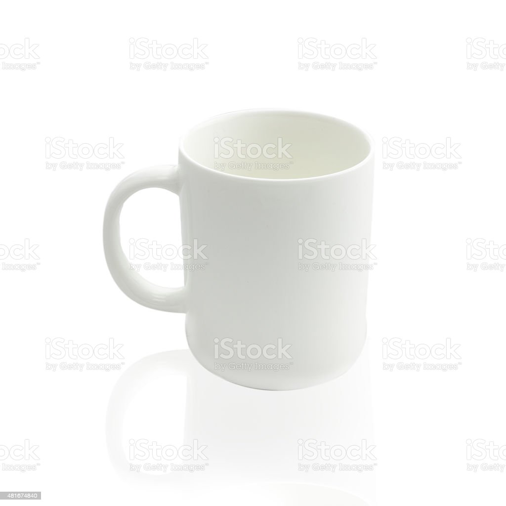 Empty coffee cup or coffee mug isolated on white background stock photo