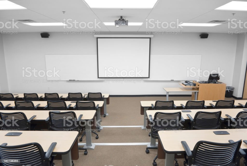 Empty College or University classroom with whiteboard royalty-free stock photo