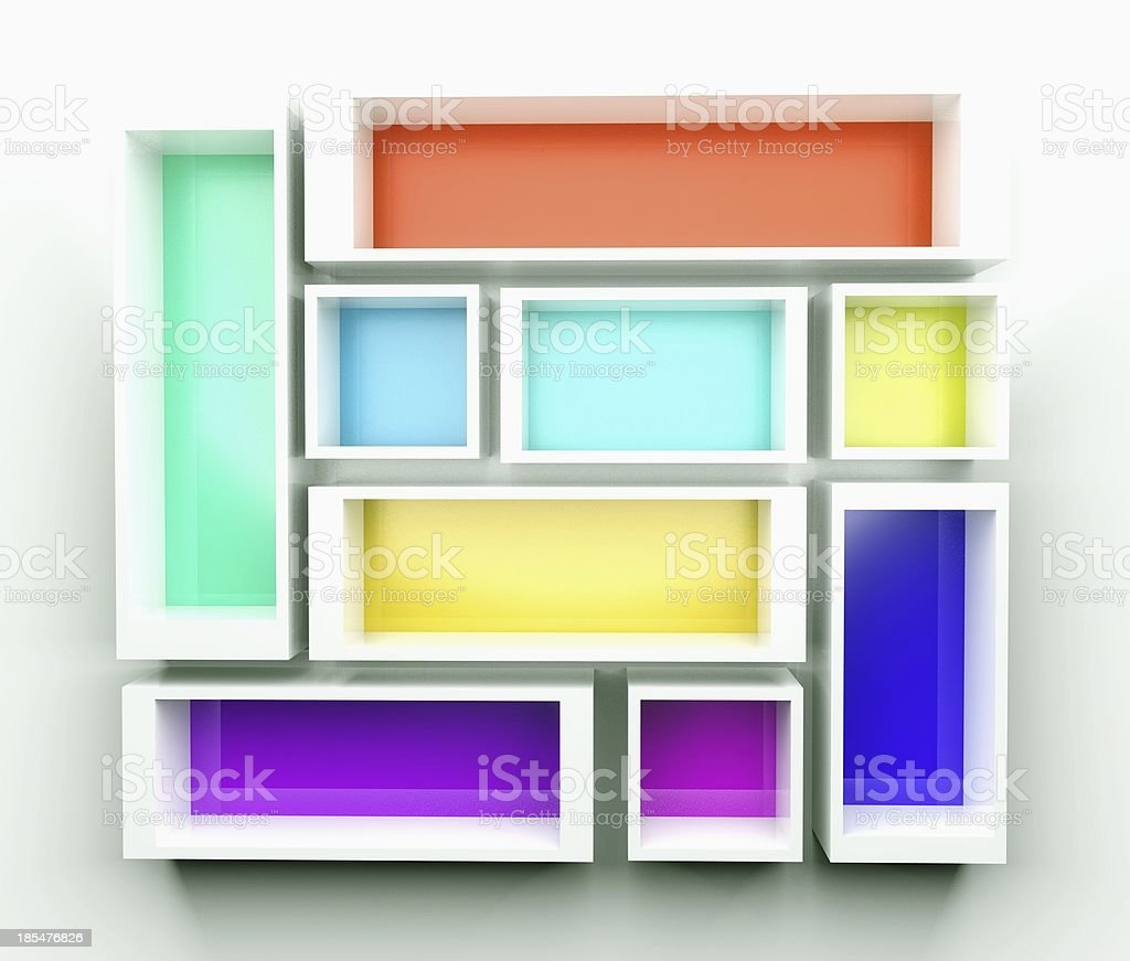 Empty colorful bookshelf. 3d composition royalty-free stock photo
