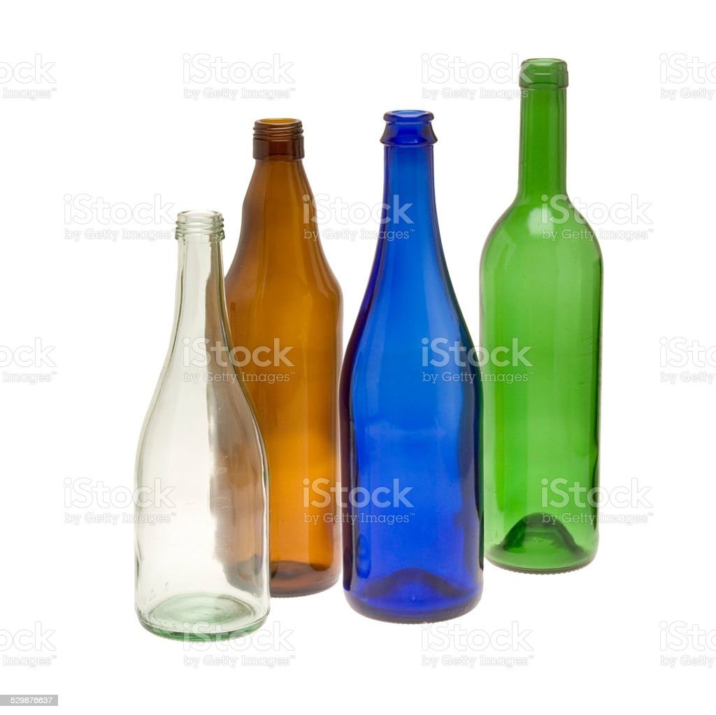 leere bunte Glasflaschen (Recyclingglas) stock photo