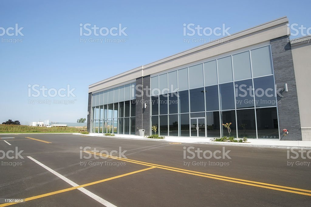Empty Commercial Building and Parking royalty-free stock photo