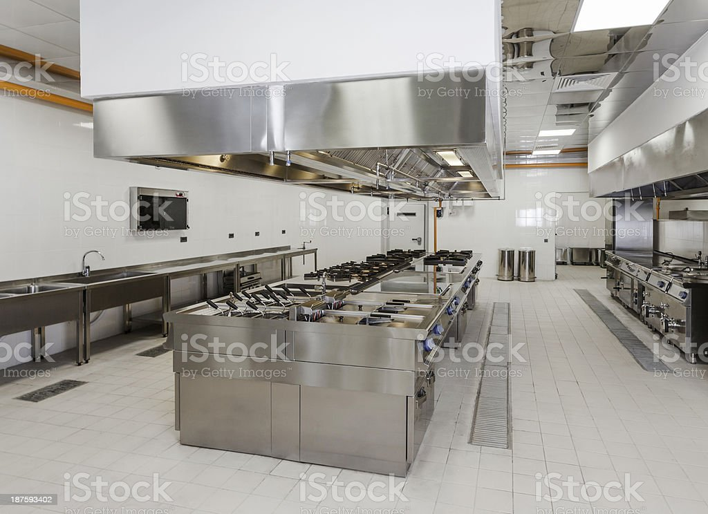 Empty commercial kitchen layout stock photo