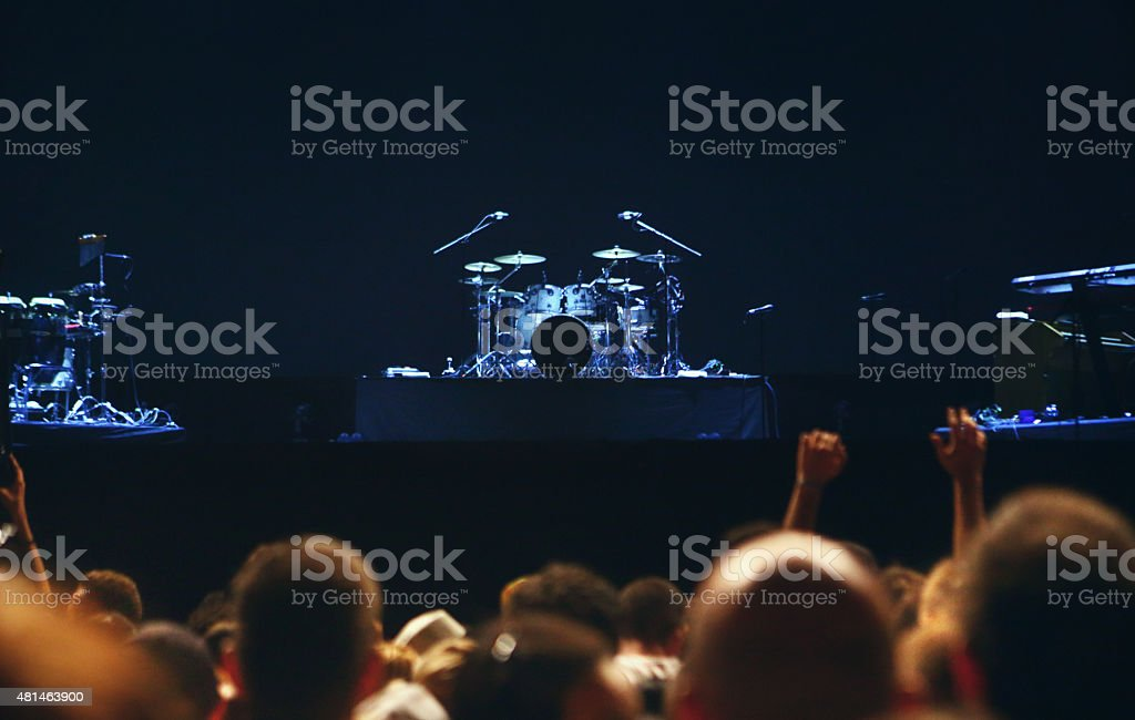 Empty concert stage before the show. stock photo
