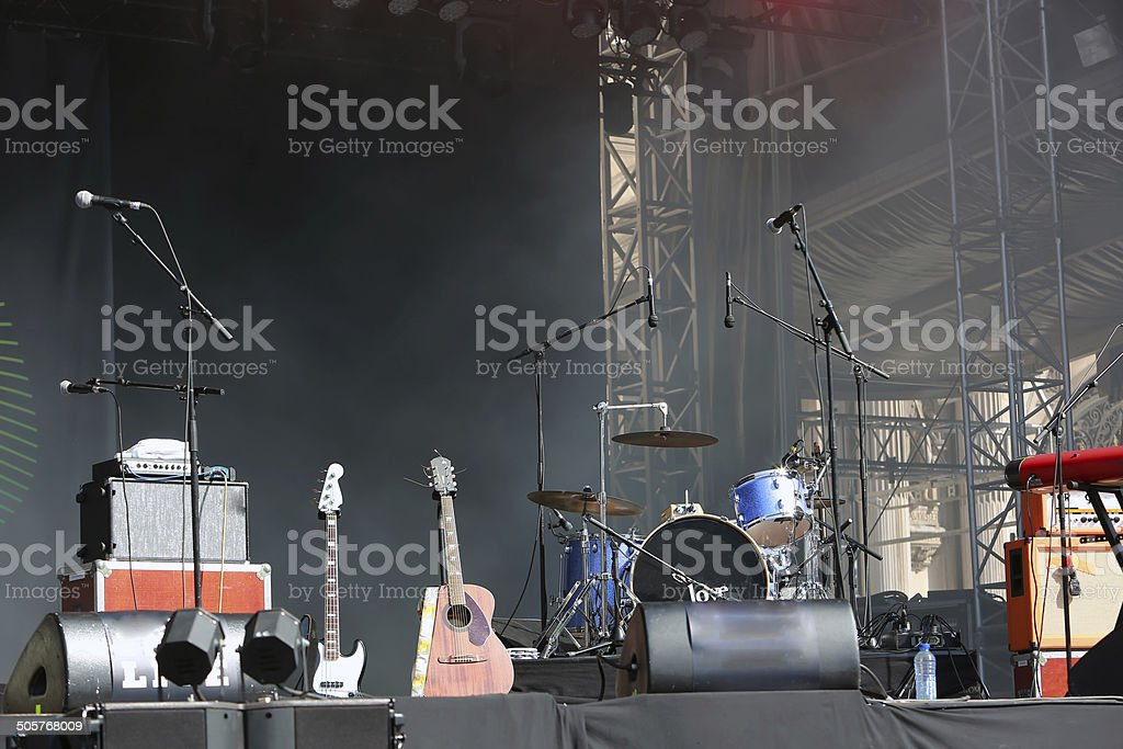 Empty concert stage stock photo