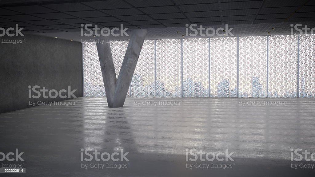 Empty Concrete Hall royalty-free stock photo