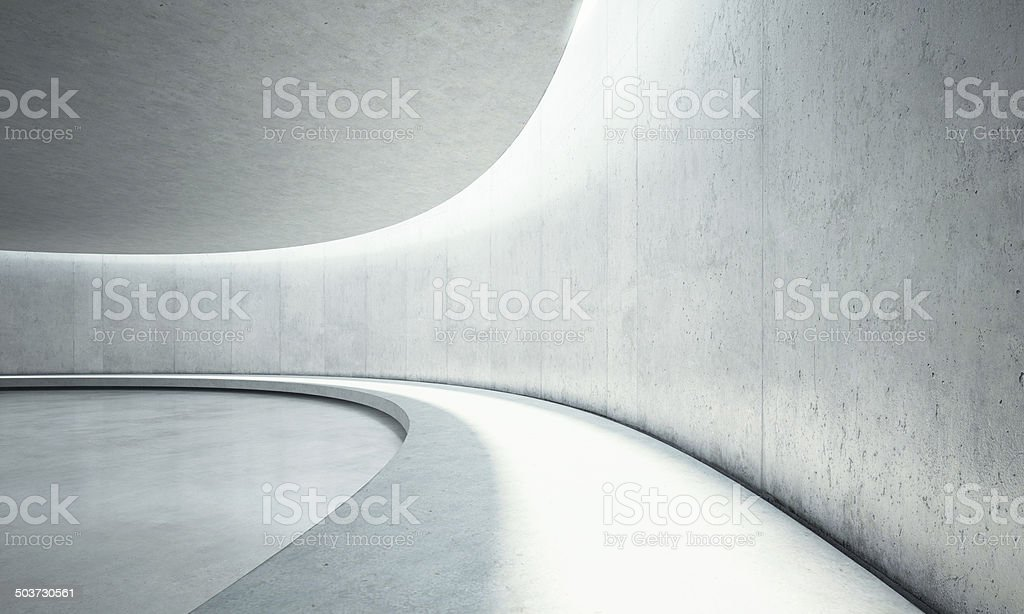 Empty concrete open space interior with sunlight stock photo