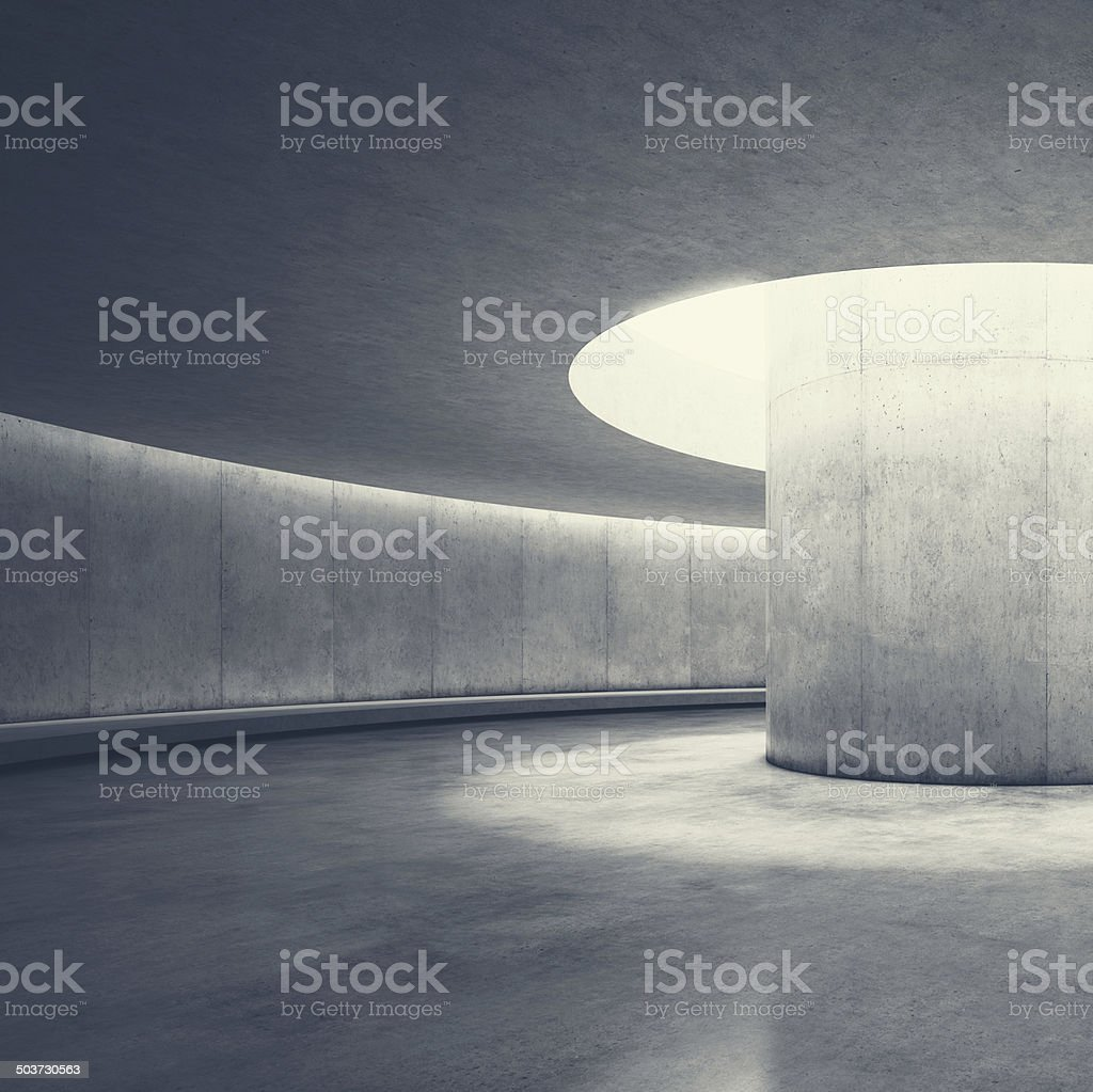 Empty concrete open space interior with sunlight stock photo