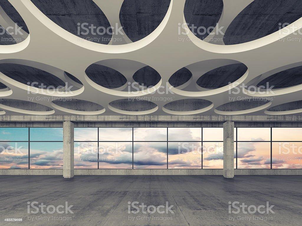 Empty concrete room interior background 3d stock photo