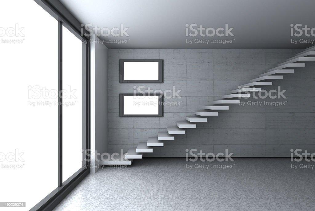 Empty concrete room with two displays stock photo