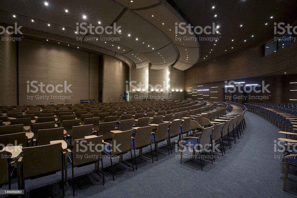 Empty conference hall stock photo