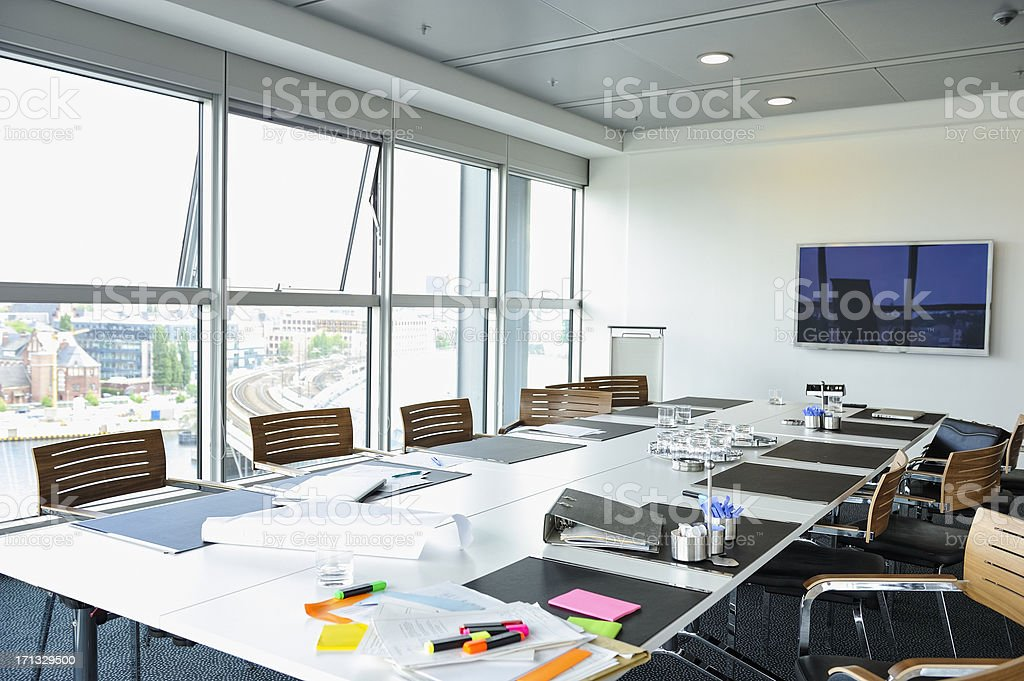 An empty conference room in a modern German office