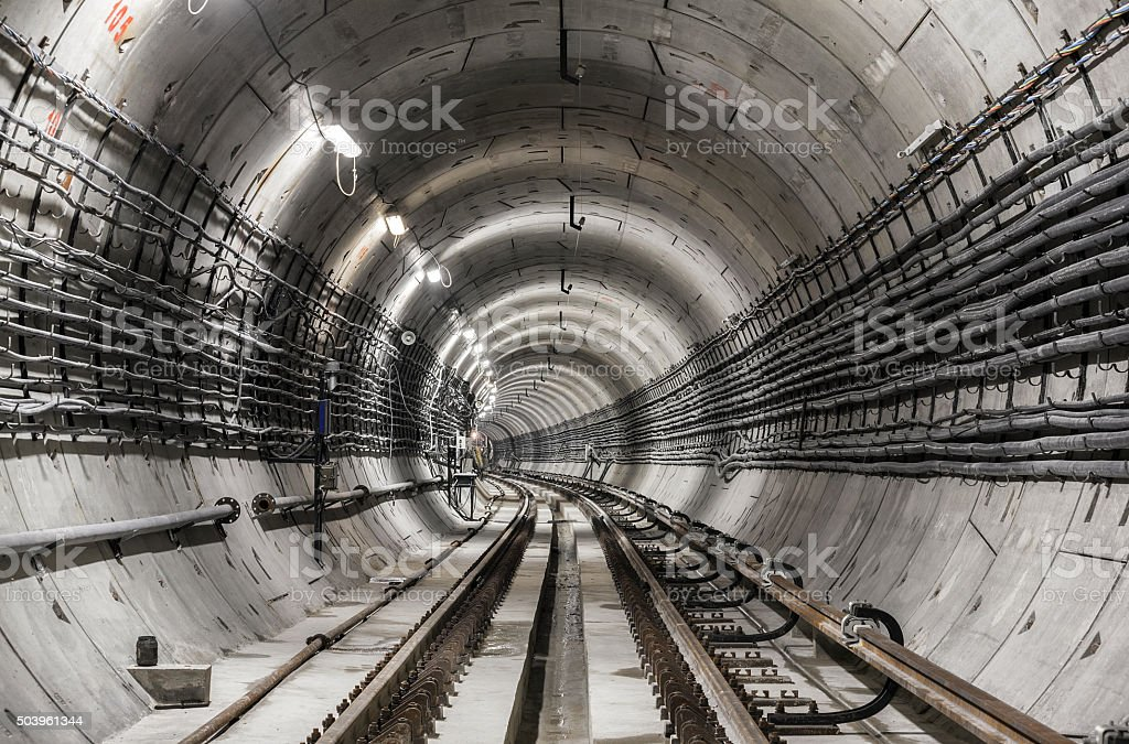 Empty construction subway tunnel stock photo