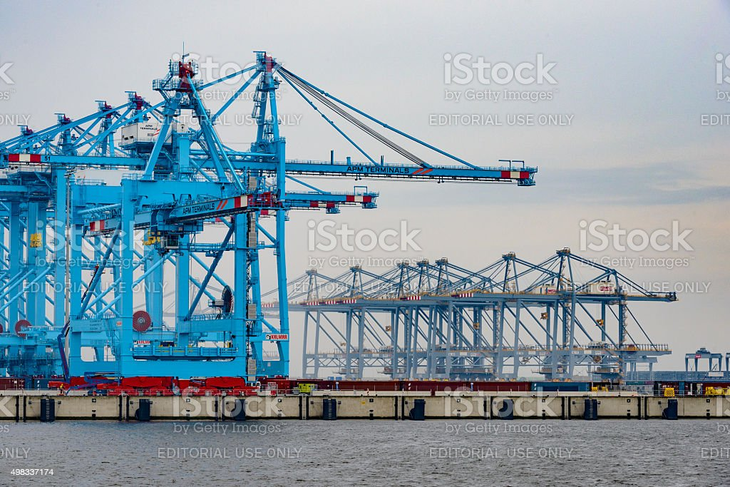 Empty container terminal at the Rotterdam Maasvlakte harbor stock photo
