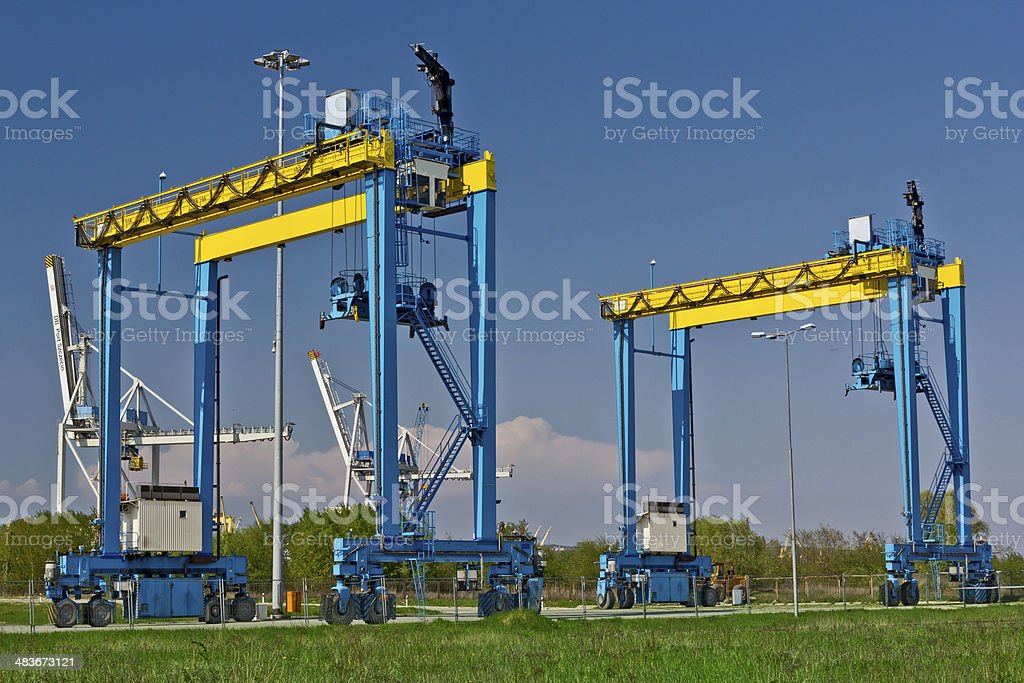 Empty container terminal in Harbor royalty-free stock photo