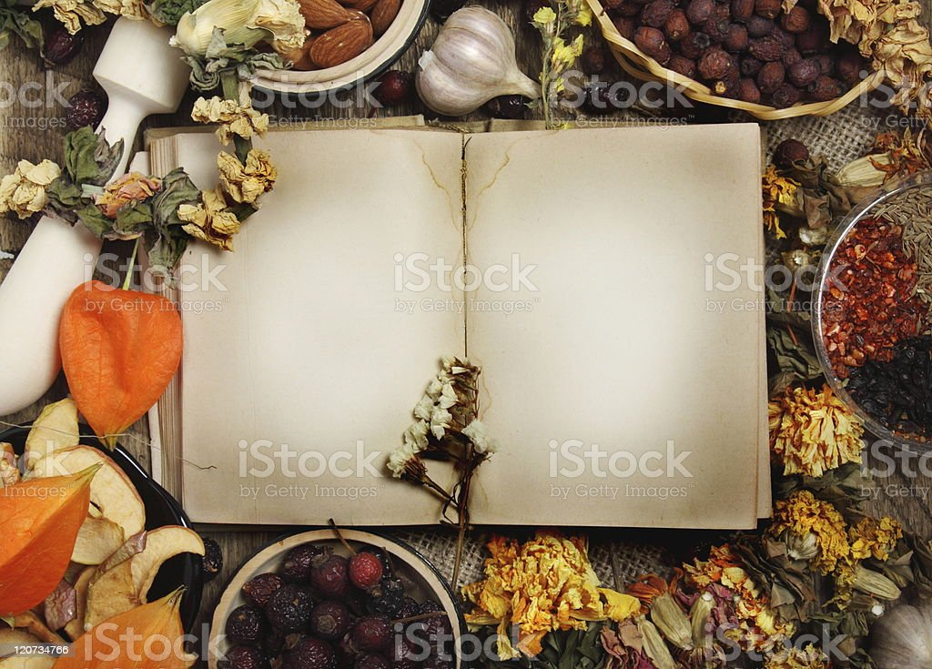 Empty cookbook with different seasoning royalty-free stock photo