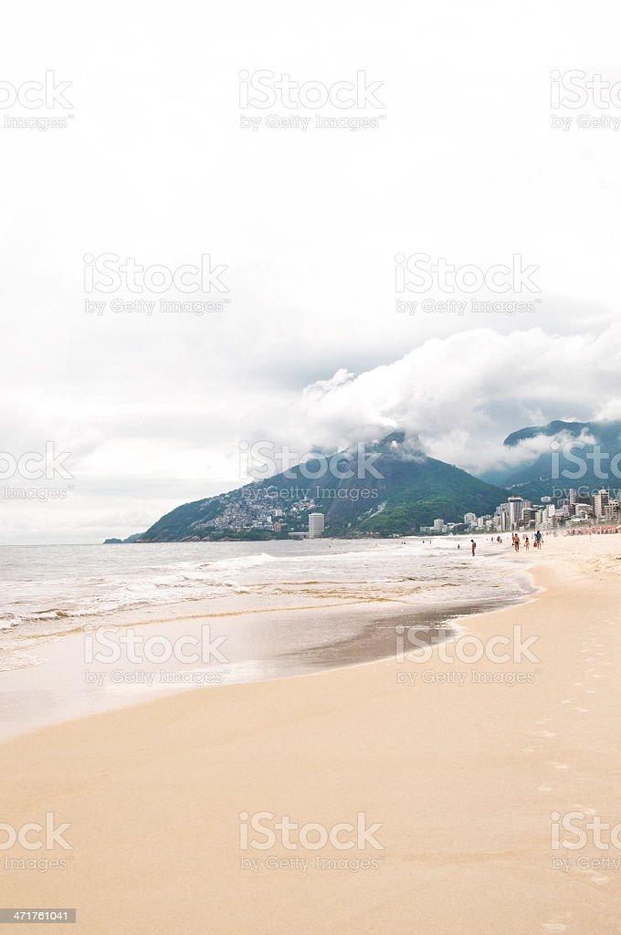 Empty Copacabana Beach, Rio de janeiro, Brazil royalty-free stock photo