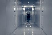 Empty Corridor Hallway, and room doors for Halloween theme