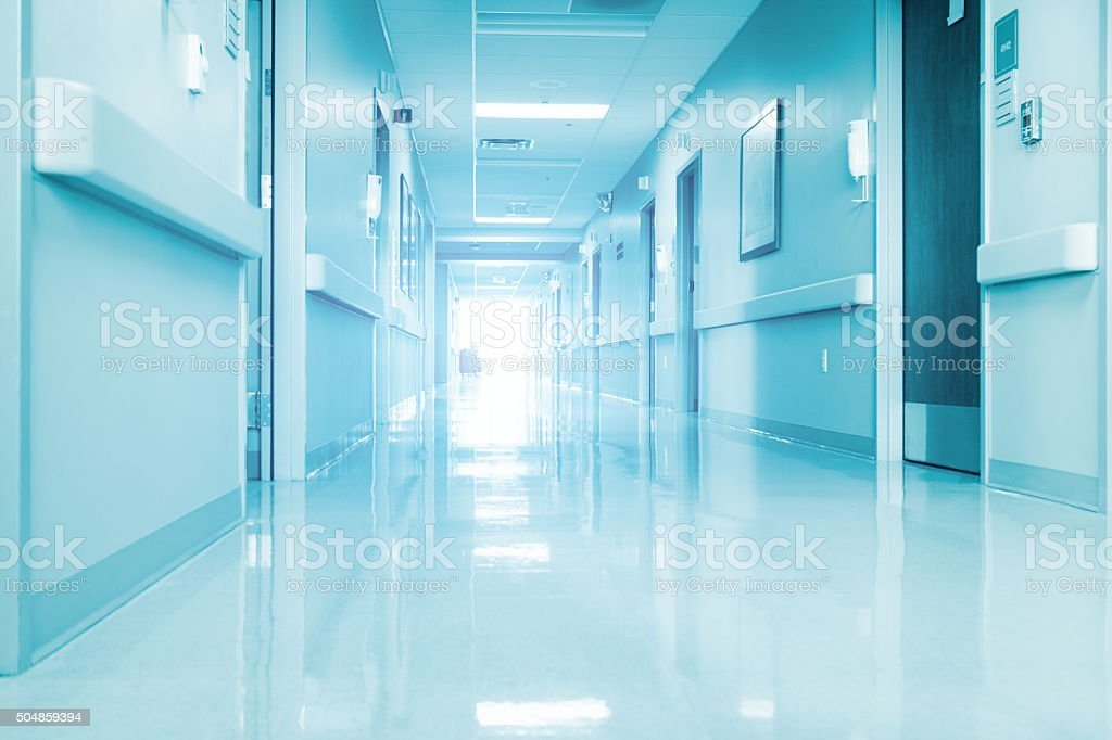 Empty Corridor In Modern Hospital stock photo