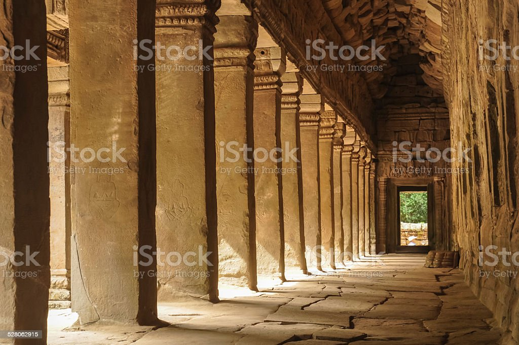 empty corridor of ancient Angkor Wat royalty-free stock photo