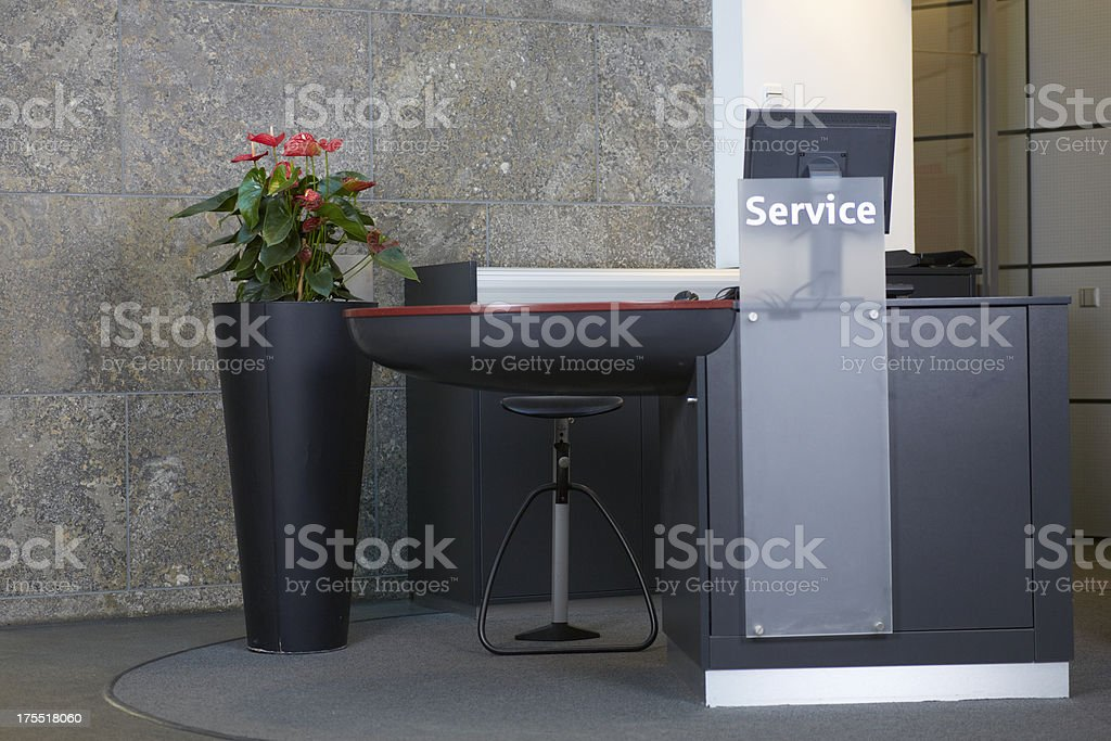 Empty counter in a european bank stock photo
