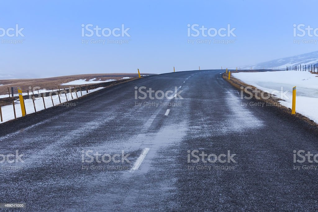 Empty country road in winter day stock photo