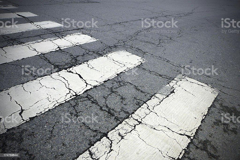 Empty Cracked Crosswalk royalty-free stock photo