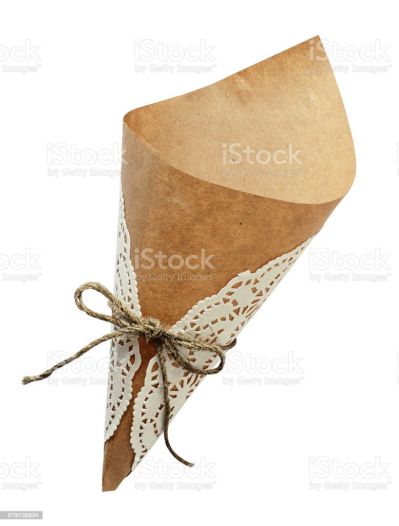 Empty craft paper cornet stock photo