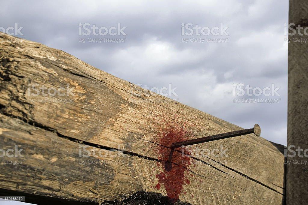 Empty cross symbol of the risen Jesus Christ. stock photo