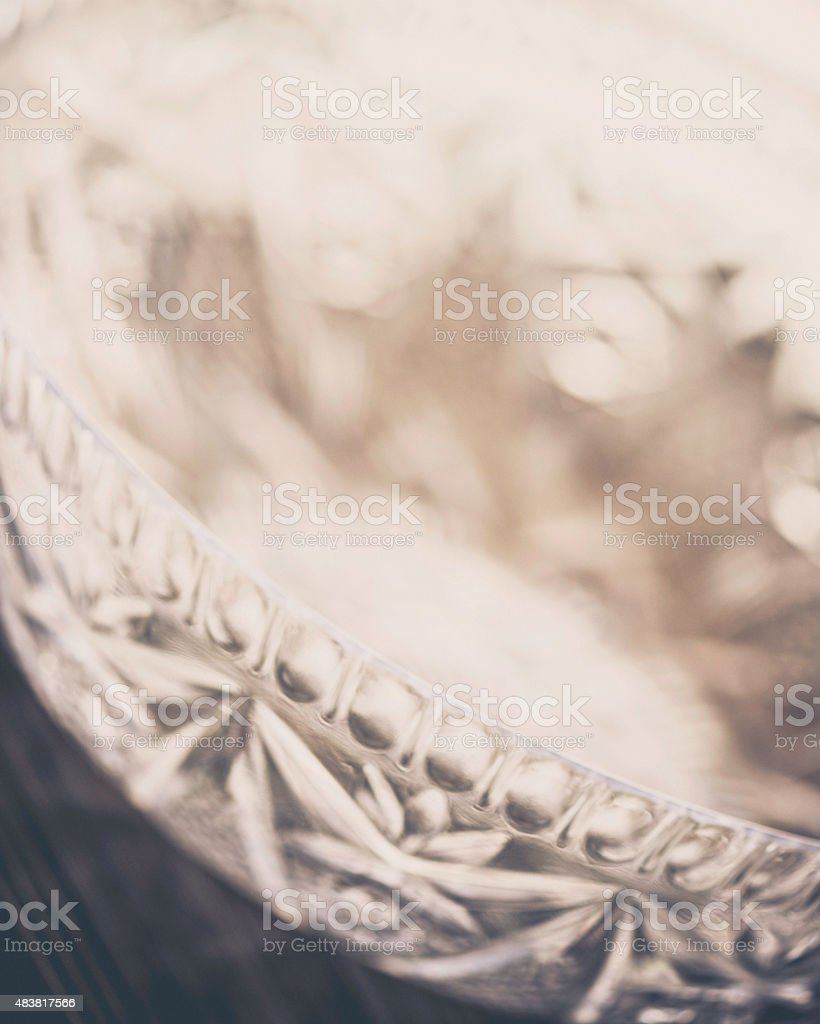 Empty crystal punch bowl stock photo