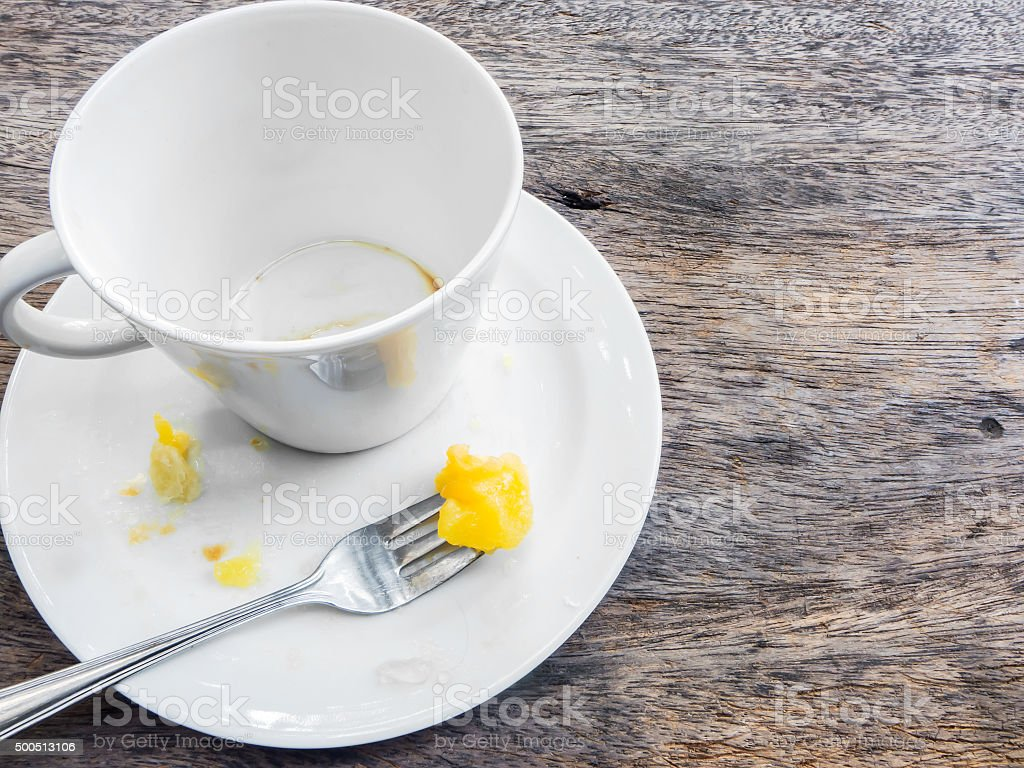 Empty cup of coffee and empty plate stock photo