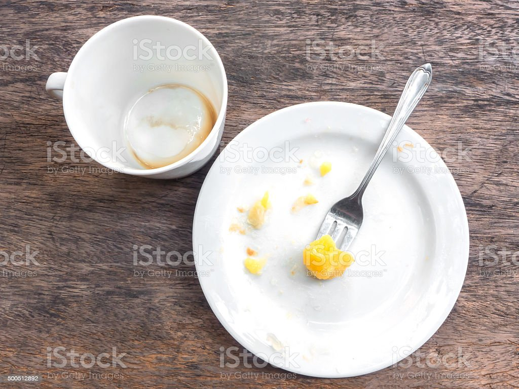 Empty cup of coffee and plate stock photo