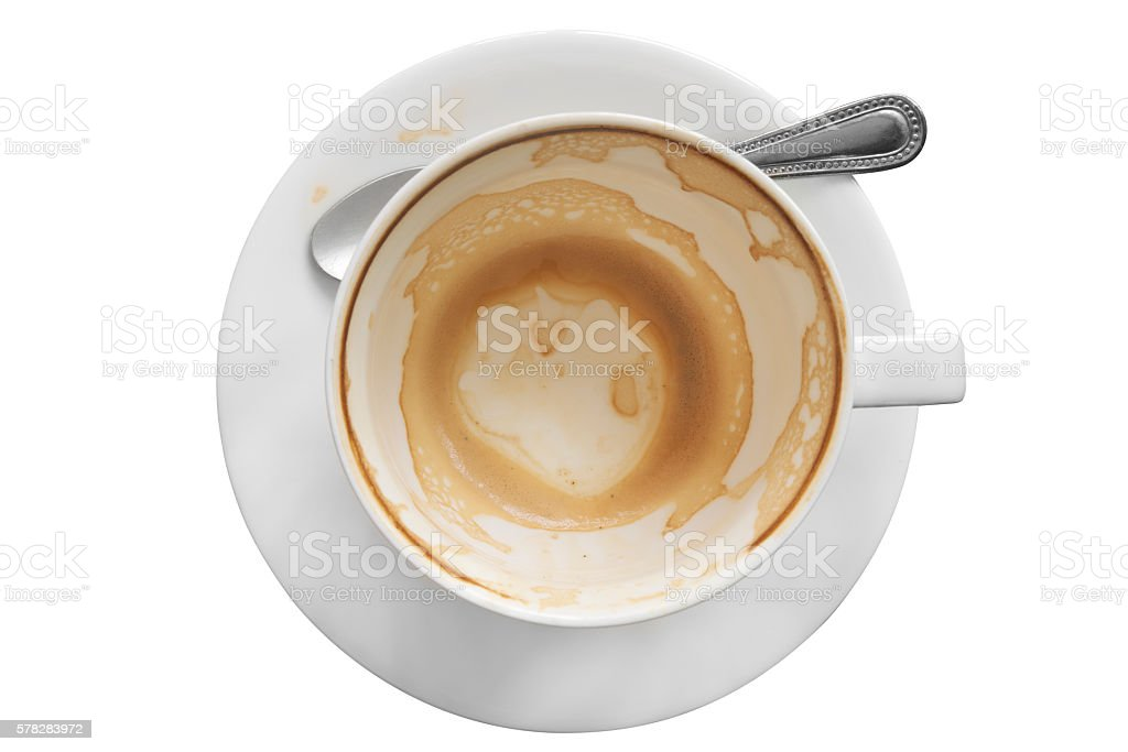 Empty cup of coffee stock photo