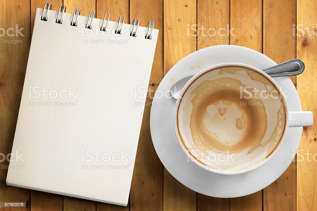 Empty cup of coffee with copyspace stock photo