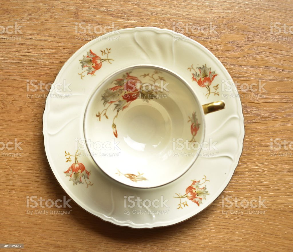 Empty cup of tea on wooden background stock photo