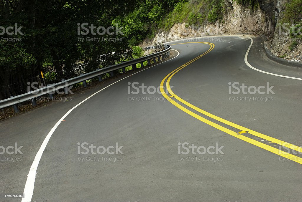 Empty curving road with double yellow line royalty-free stock photo