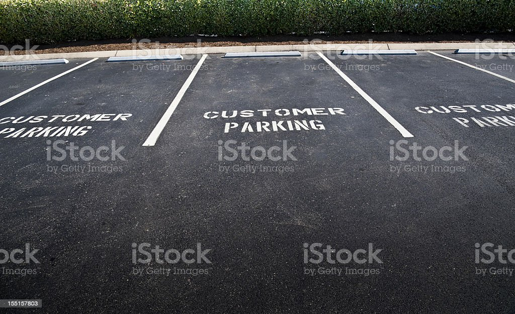 Empty Customer Parking Spaces royalty-free stock photo