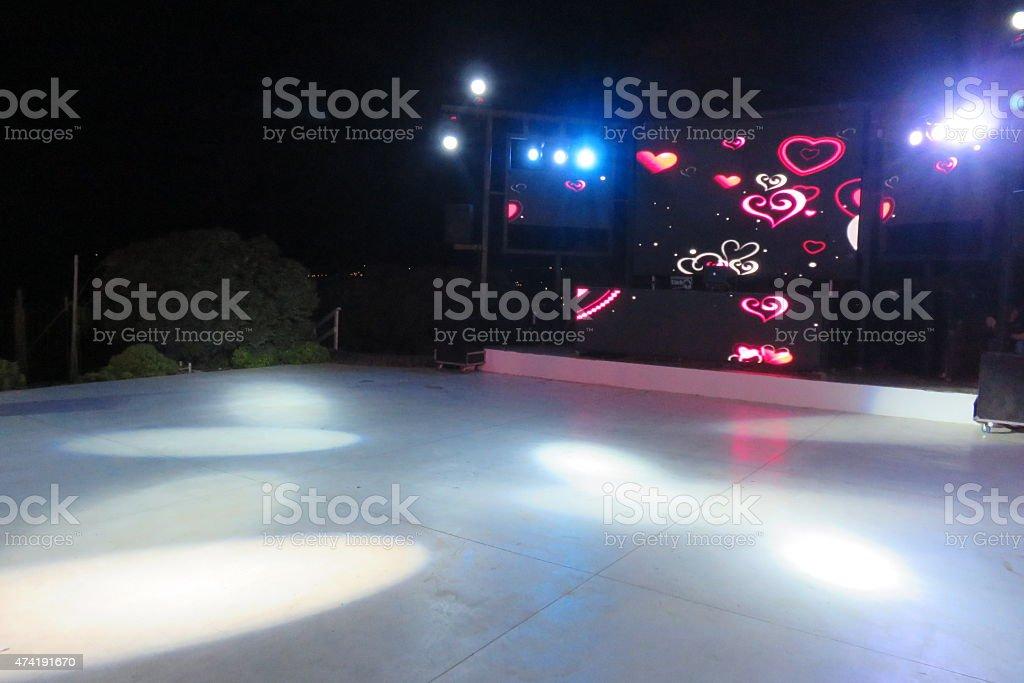 Empty dance floor stock photo